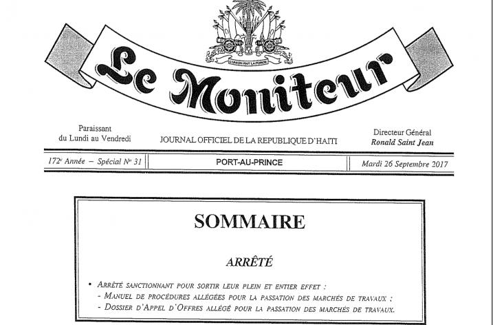 Arrêté du 30 août 2017 sanctionnant pour sortir leur plein et entier effet Manuel de procédures allégées et Dossier d´appel d´offres allégé pour la passation des marchés de travaux.